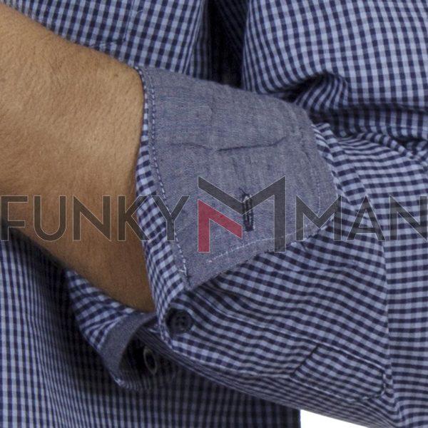 Καρό Μακρυμάνικο Πουκάμισο Regular Fit DOUBLE GS-488-1 Μπλε
