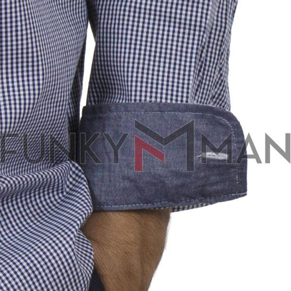 Καρό Μακρυμάνικο Πουκάμισο Regular Fit DOUBLE GS-488-2 Μπλε