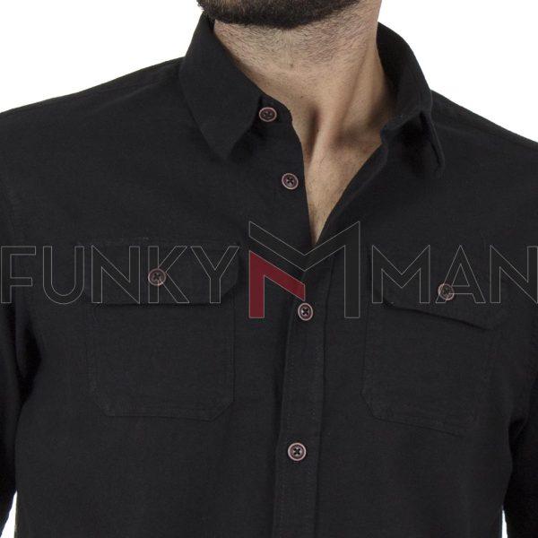Cotton Fannel Πουκάμισο Regular Fit DOUBLE GS-494 Μαύρο