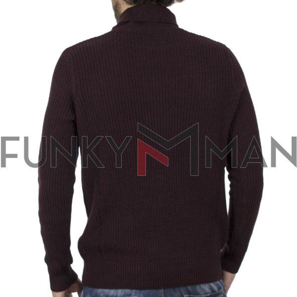 Πουλόβερ Πλεκτή Μπλούζα Sweater DOUBLE KNIT-27 Βουργουνδί