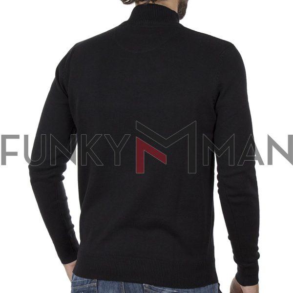Πουλόβερ Zipper Neck Sweater DOUBLE KNIT-31 Μαύρο