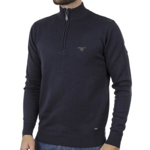 Πουλόβερ Zipper Neck Sweater DOUBLE KNIT-31 Navy