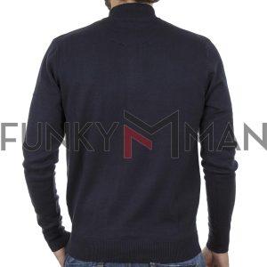 Πουλόβερ Zipper Neck Sweater DOUBLE KNIT-31 Navy