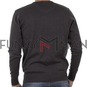 Πλεκτή Μπλούζα V Neck Sweater DOUBLE KNIT-36 Ανθρακί