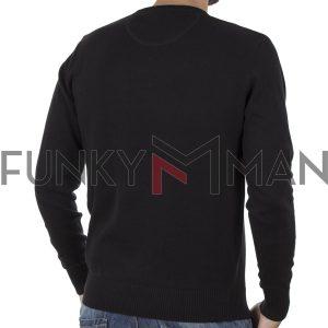 Πλεκτή Μπλούζα V Neck Sweater DOUBLE KNIT-36 Μαύρο