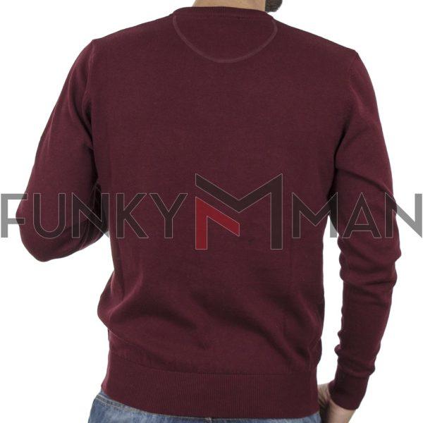 Πλεκτή Μπλούζα V Neck Sweater DOUBLE KNIT-36 Βουργουνδί