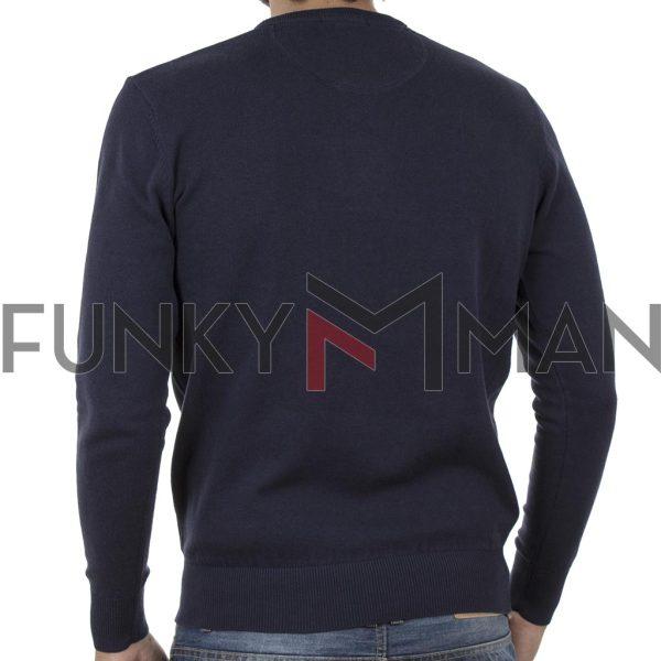 Πλεκτή Μπλούζα V Neck Sweater DOUBLE KNIT-36 Navy