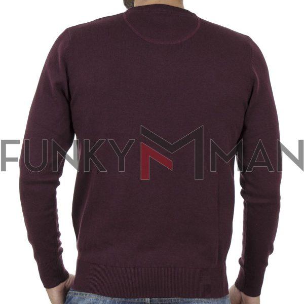 Πλεκτή Μπλούζα Round Neck Sweater DOUBLE KNIT-37 Μπορντό