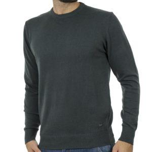Πλεκτή Μπλούζα Round Neck Sweater DOUBLE KNIT-37 Πράσινο