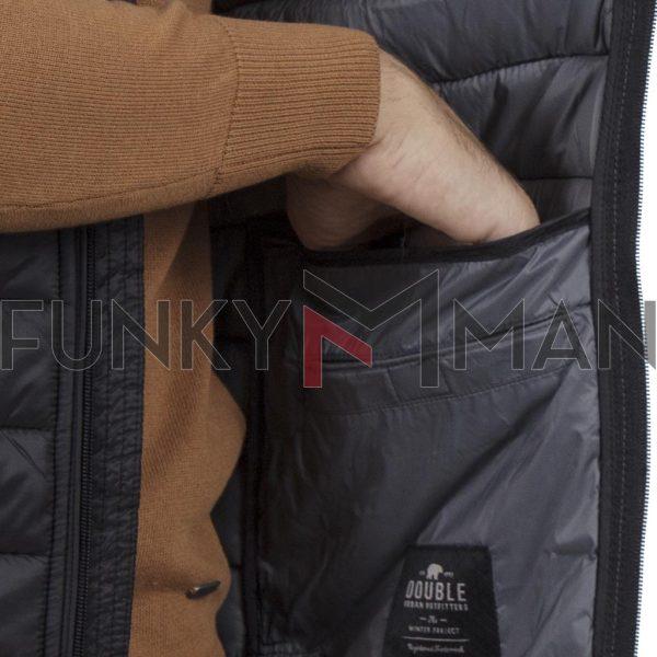 Αμάνικο Μπουφάν Puffer Padded Vest DOUBLE SMJK-07 Μαύρο