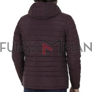 Φουσκωτό Μπουφάν Puffer Jacket FUNKY BUDDHA FBM001-01219 Βουργουνδί