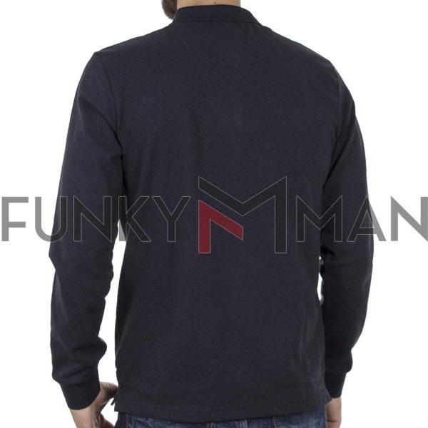 Μακό Μακρυμάνικο με Γιακά Fashion POLO FUNKY BUDDHA FBM001-07219 Navy