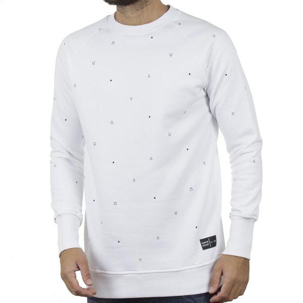 Fashion Φούτερ All Over Print PONTEROSSO 19-2044 SIGNS Λευκό