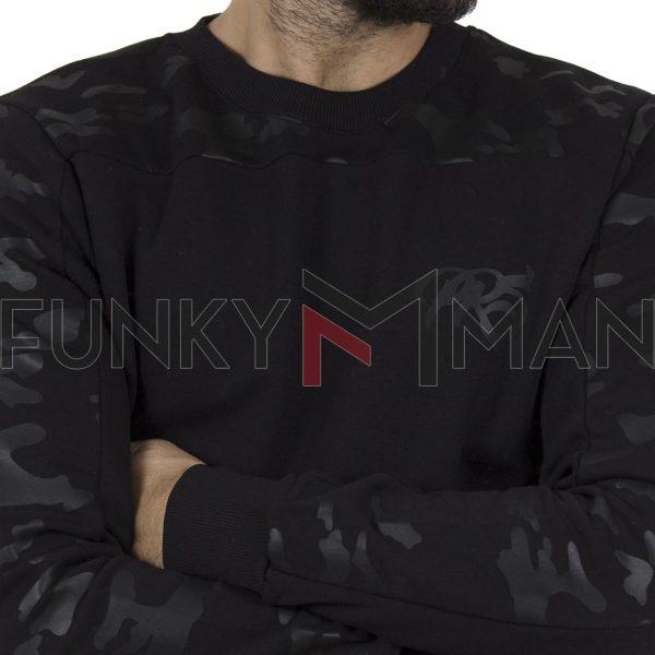 Fashion Φούτερ All Over Print PONTEROSSO 19-2048 ARMY Μαύρο