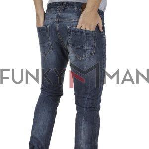 Τζιν Παντελόνι Slim Fit SHAFT Jeans 8505 Μπλε