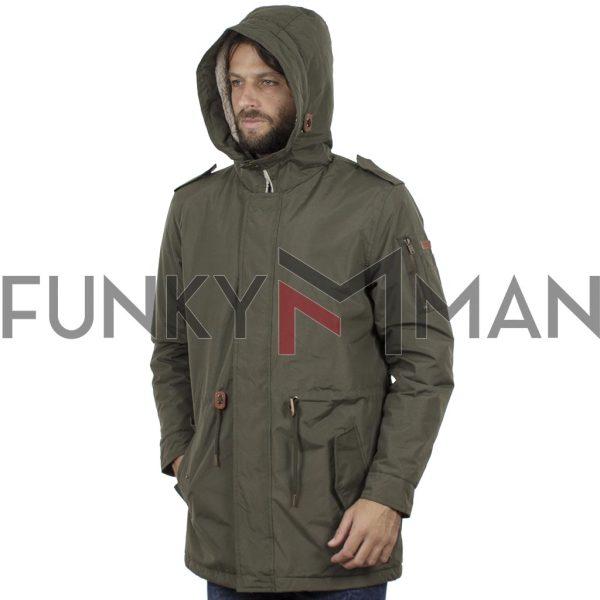 Μακρύ Μπουφάν Parka Jacket με Κουκούλα BLEND 20708637 Χακί