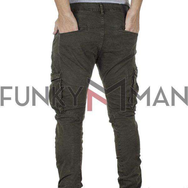 Cargo Παντελόνι Slim με Λάστιχα κάτω Back2jeans T21 Χακί