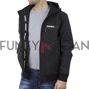 Ελαφρύ Neopren Lightweight Jacket με Κουκούλα DOUBLE MJK-130 Μαύρο