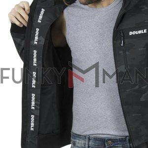 Ελαφρύ Neopren Lightweight Jacket με Κουκούλα DOUBLE MJK-130 Γκρι παραλλαγής