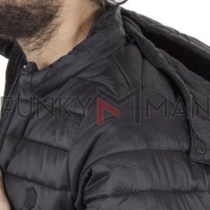 Φουσκωτό Μπουφάν Puffer Jacket με Κουκούλα DOUBLE MJK-131 Μαύρο