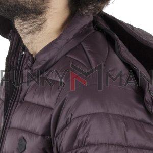 Φουσκωτό Μπουφάν Puffer Jacket με Κουκούλα DOUBLE MJK-131 Wine