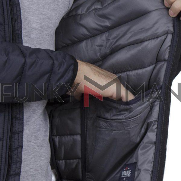 Φουσκωτό Μπουφάν Puffer Jacket με Κουκούλα DOUBLE MJK-131 Navy