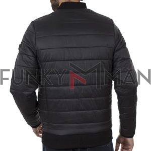 Φουσκωτό Flight Bomber Puffer Jacket DOUBLE MJK-132 Μαύρο
