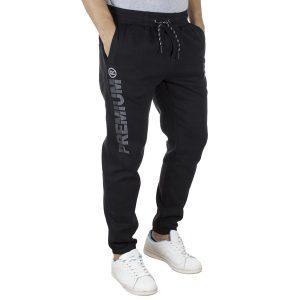 Fleece Παντελόνι Φόρμας με Λάστιχα DOUBLE MPAN-28 Μαύρο