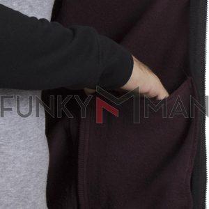Ζακέτα Φούτερ Full Zip Reglan Sleeve DOUBLE MTOP-42 Μπορντό