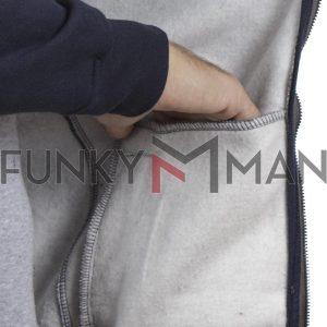 Ζακέτα Φούτερ Full Zip Reglan Sleeve DOUBLE MTOP-42 Γκρι