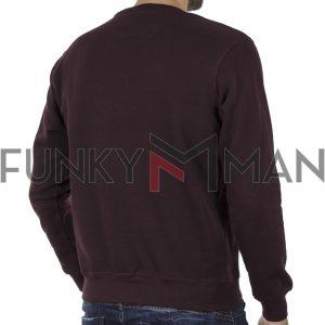 Φούτερ-Fleece Μπλούζα Sweatshirt DOUBLE MTOP-51 Wine
