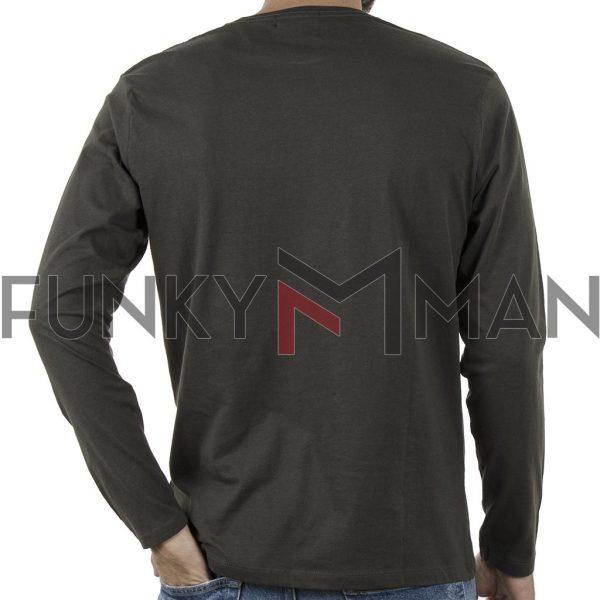 Μακό Μπλούζα Cotton Jersey Long Sleeve DOUBLE RTS-105 Χακί