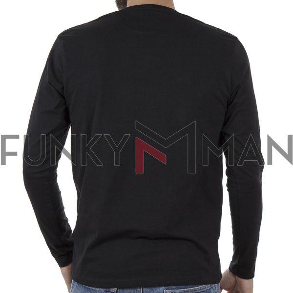 Μακό Μπλούζα Cotton Jersey Long Sleeve DOUBLE TS-105 Μαύρο