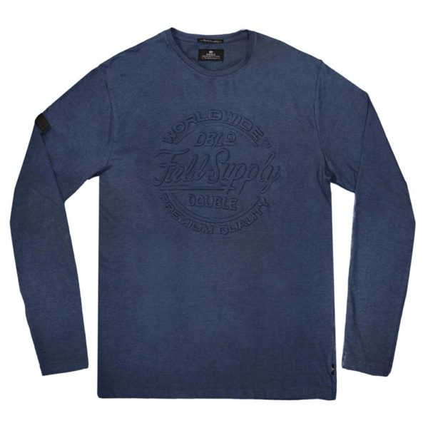 Μακό Μπλούζα Jersey Long Sleeve Melange DOUBLE TS-109 Indigo