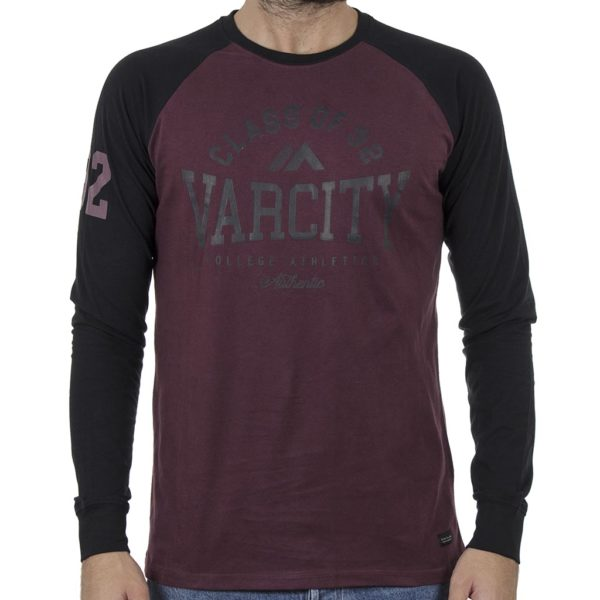 Δίχρωμο Μακό Jersey Sleeve Peach Finished DOUBLE TS-111 Wine Red
