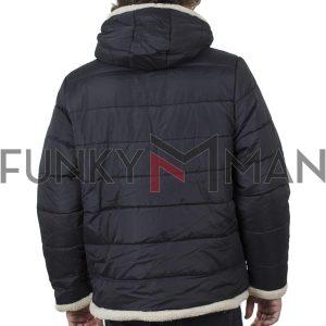 Φουσκωτό Μπουφάν Puffer Jacket με Κουκούλα DUKE 300337 Navy