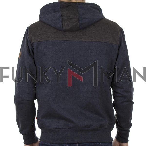 Φούτερ-Fleece Ζακέτα με Κουκούλα Hoodie DUKE 600474 LOUISIANA Navy
