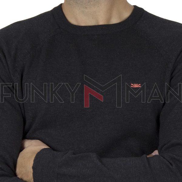 Πουλόβερ FUNKY BUDDHA FBM008-09219 Μαύρο