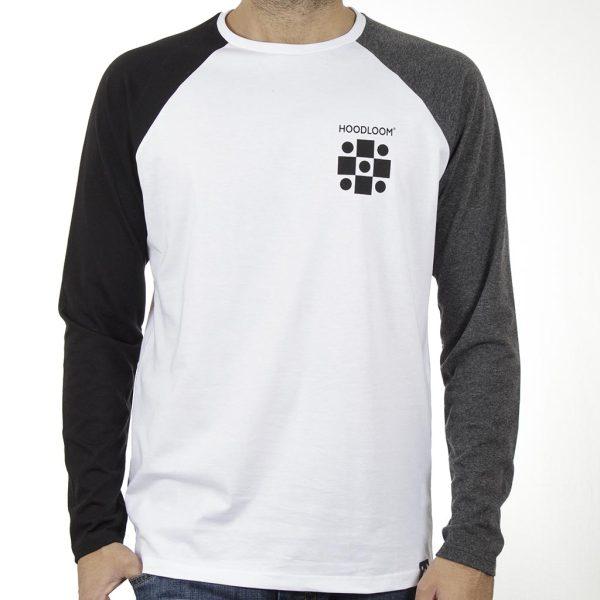 Μακρυμάνικο Μακό Hoodloom Raglan 3-color T-shirt HWB-1-12 Λευκό