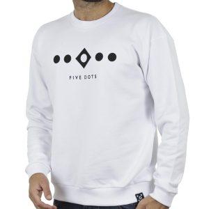 Φούτερ Hoodloom 5 Dots Crewneck HWB-3-10 Λευκό