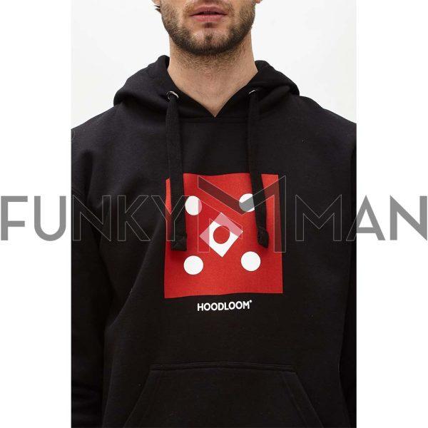 Φούτερ με Κουκούλα Hoodie Hoodloom Framed 5 Dots HWB-3-6 Μαύρο