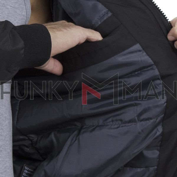 Flight Bomber Jacket με Κουκούλα ICE TECH G721 Μαύρο