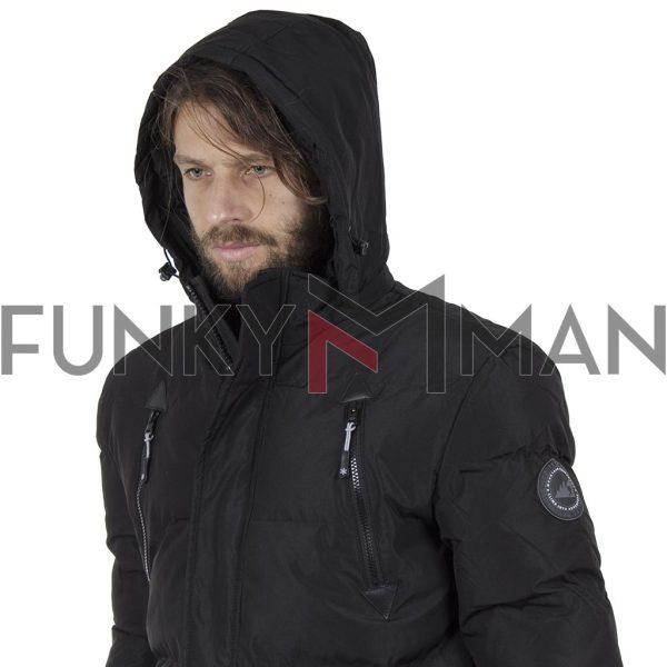 Μακρύ Puffer Jacket με Κουκούλα ICE TECH G730 Μαύρο