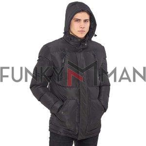 Μακρύ Puffer Jacket με Κουκούλα ICE TECH G730 Γκρι
