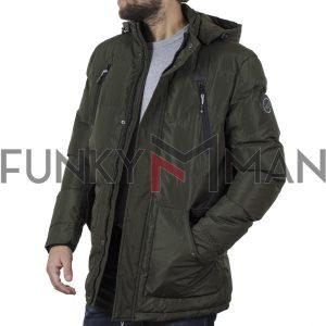 Μακρύ Puffer Jacket με Κουκούλα ICE TECH G730 Olive