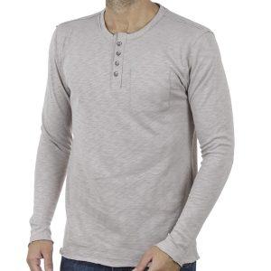 Μακρυμάνικο Μακό Henley T-shirt SCINN ST074 ανοιχτό Γκρι