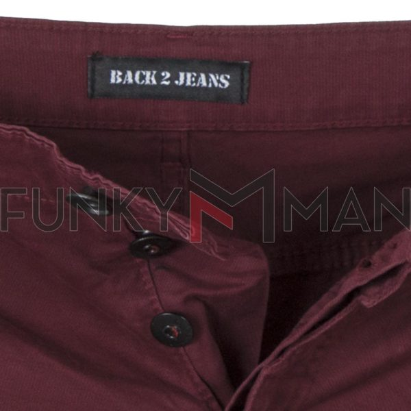 Παντελόνι Cargo με Λάστιχα Back2jeans M64 Wine Red