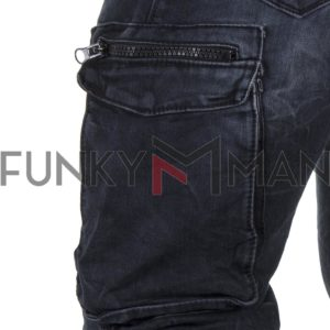 Cargo Τζιν Παντελόνι Slim Back2jeans T1 SS20 Army Blueblack