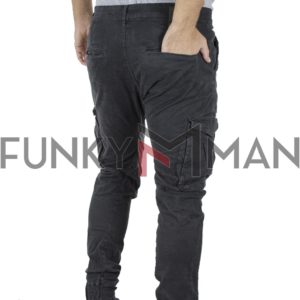 Cargo Παντελόνι με Λάστιχα Back2jeans T21 Army Ανθρακί