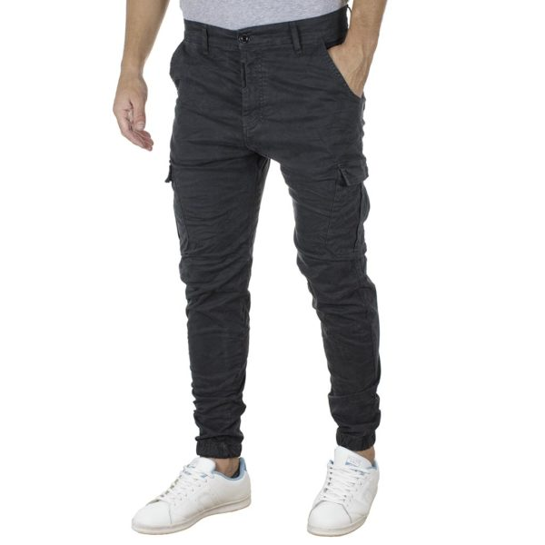 Cargo Παντελόνι με Λάστιχα Back2jeans T23 Army Ανθρακί
